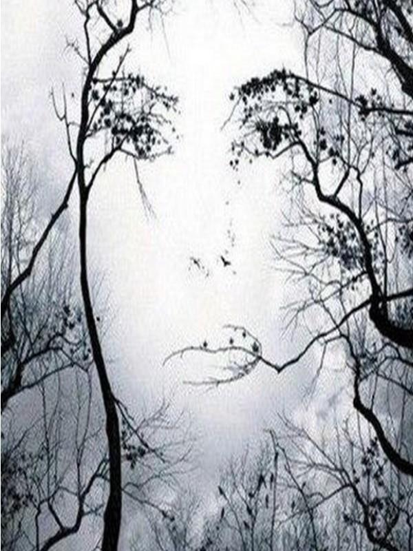 visage d 39 une femme en contrechamp un arbre qui se devine visage et arbre noir et blanc. Black Bedroom Furniture Sets. Home Design Ideas