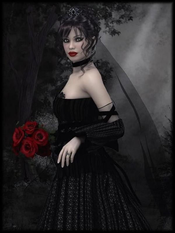 Femme gothique noir et blanc - Dessin gothique ...