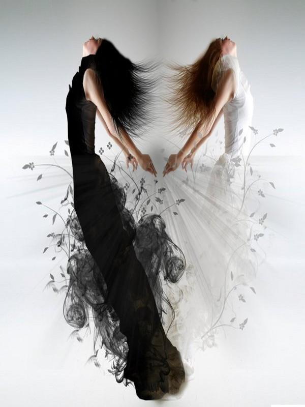 Femme en noir et blanc - Dessin ange noir et blanc ...